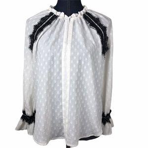LOFT Ivory White Blouse w Black Lace Accents S/P
